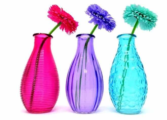 Vases rose, violet, bleu