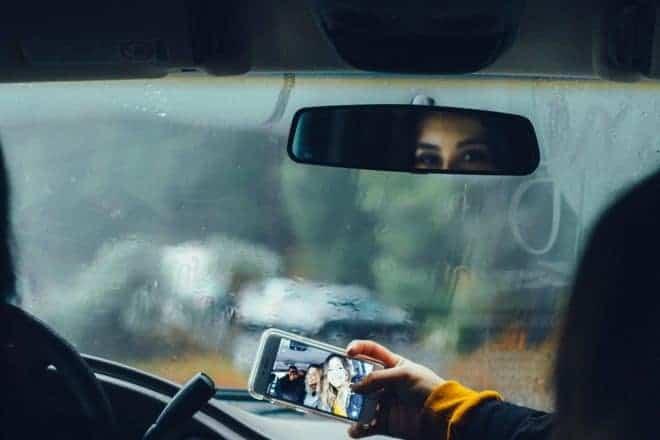 Selfie en voiture