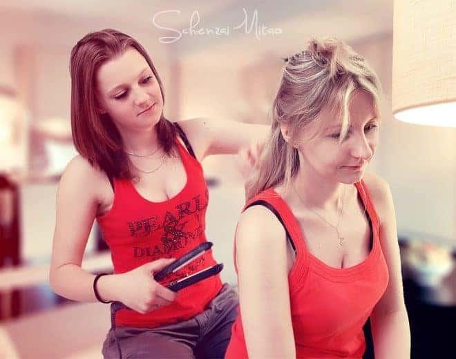 Fer à lisser, cheveux, 2 filles