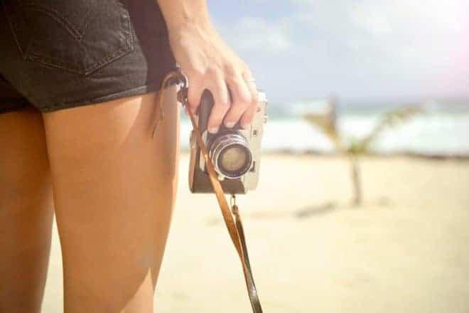 Jambe fille, appareil photos