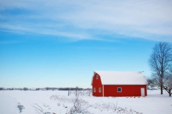 Grange, toit, neige